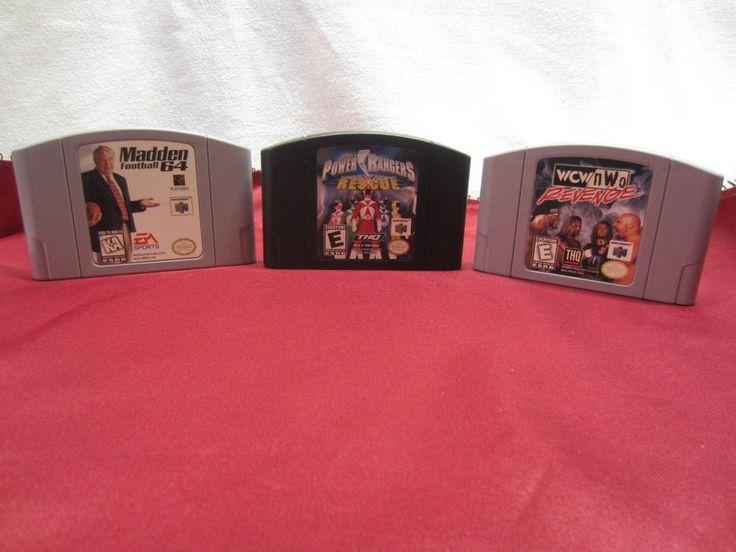 Nintendo 64 Games Lot of 3~ WCW-nWo Revenge~Power Rangers~Madden Football 64