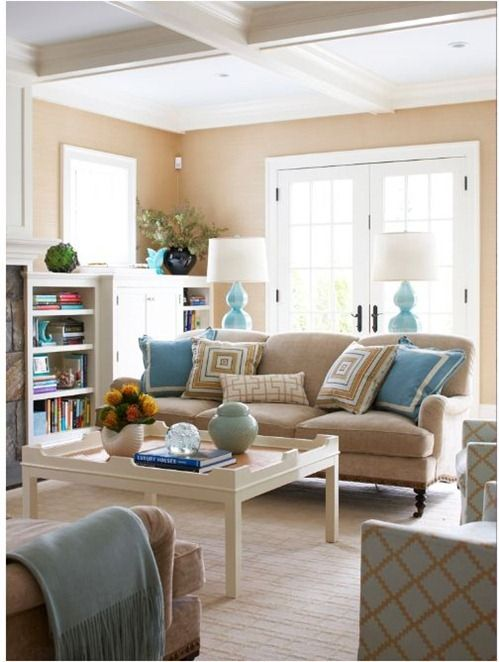 I am so bad at mixing patterns. I need inspiration.: Lamps, Blue Accent, Decor Ideas, Living Rooms, Colors Schemes, Currently, Families Rooms, Sofas, Beaches Cottages