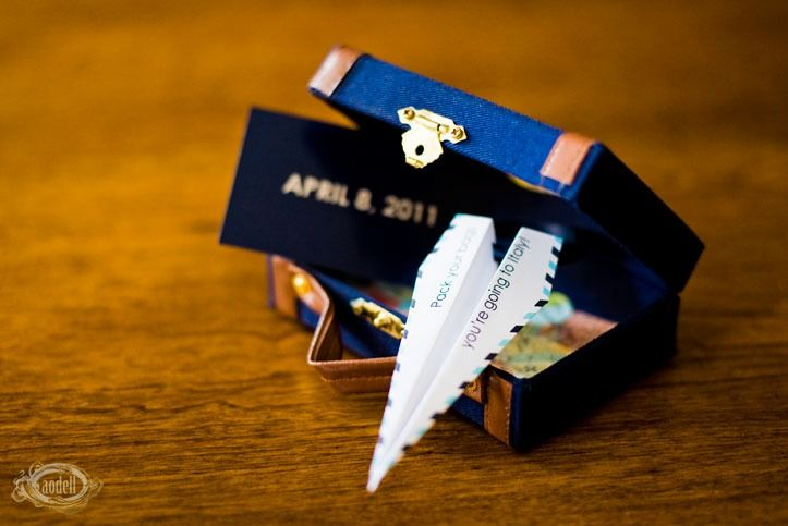 destination wedding invitations in tiny suitcases!