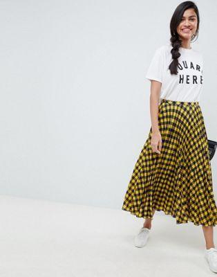684e45baaf DESIGN yellow check pleated midi skirt en 2019