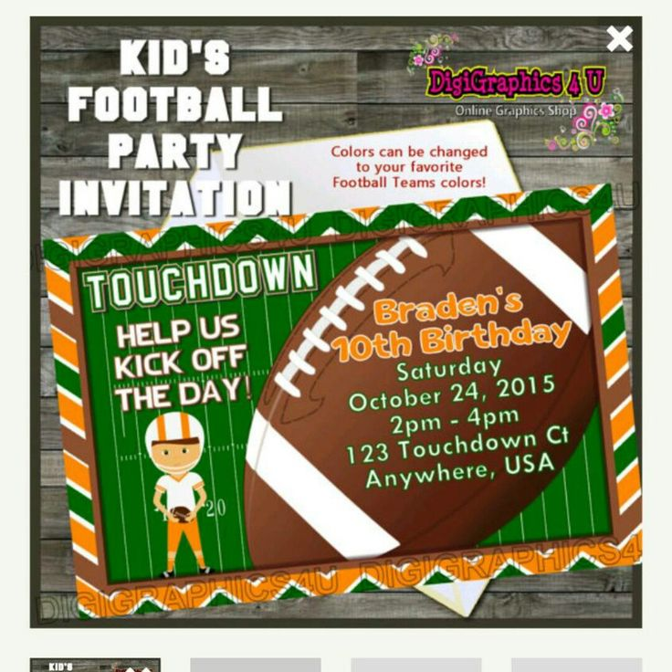 Kids Football  Party Invitation - Come check it out over at DigiGraphics4u #birthday #invitation #party #printable #invite #birthdayinvitation #football #touchdown