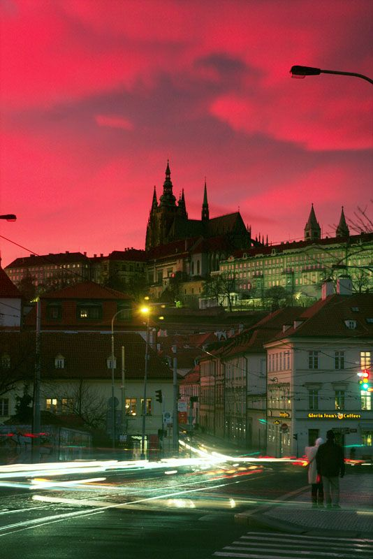 I've been in love with this city since I was 14. Sunset in Prague, Czech Republic