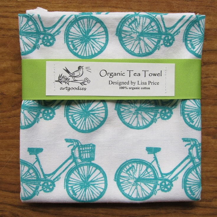 organic bike pattern tea towel Limited Edtion BLUE. $18.00, via Etsy.