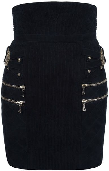 Balmain Quilted Suede Skirt