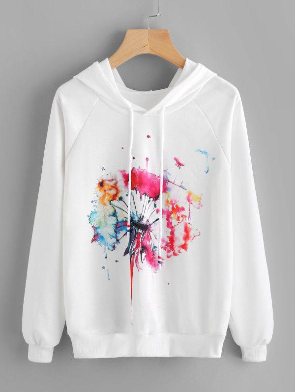 b8857868c7 White Watercolor Painting Print Raglan Sleeve Hoodie -SheIn(Sheinside) Boho  fashion | trendy clothes | new fashion | fashion ideas | hot tops |  pullover ...