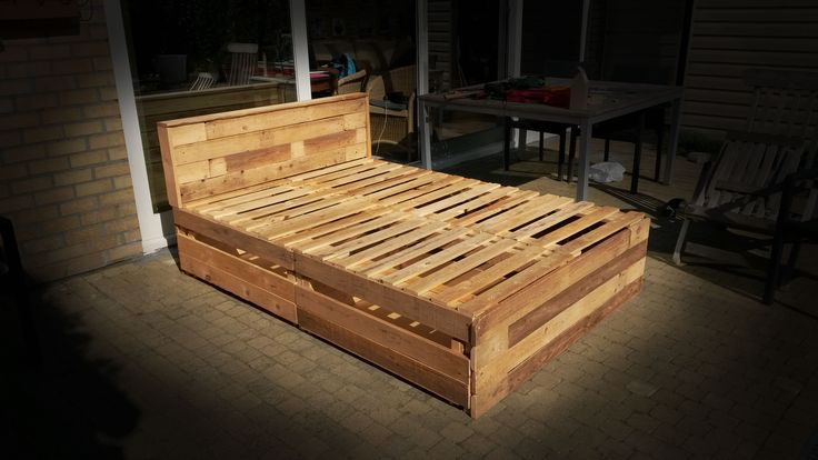 Built this bed out of pallet wood.