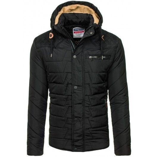 Čierne pánske zateplené vetrovky s kapucňou - fashionday.eu