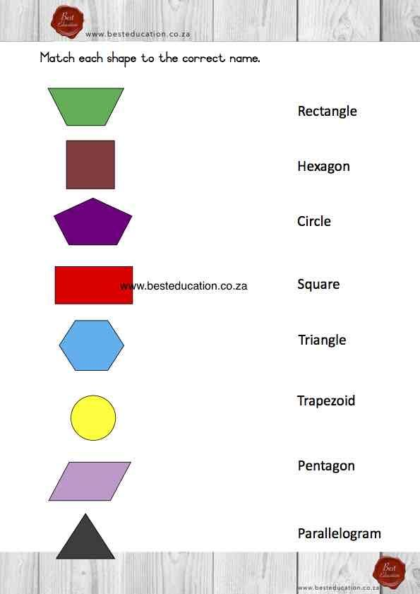 Matching 2 D shapes names Grade 3 Maths www.besteducation.co.za