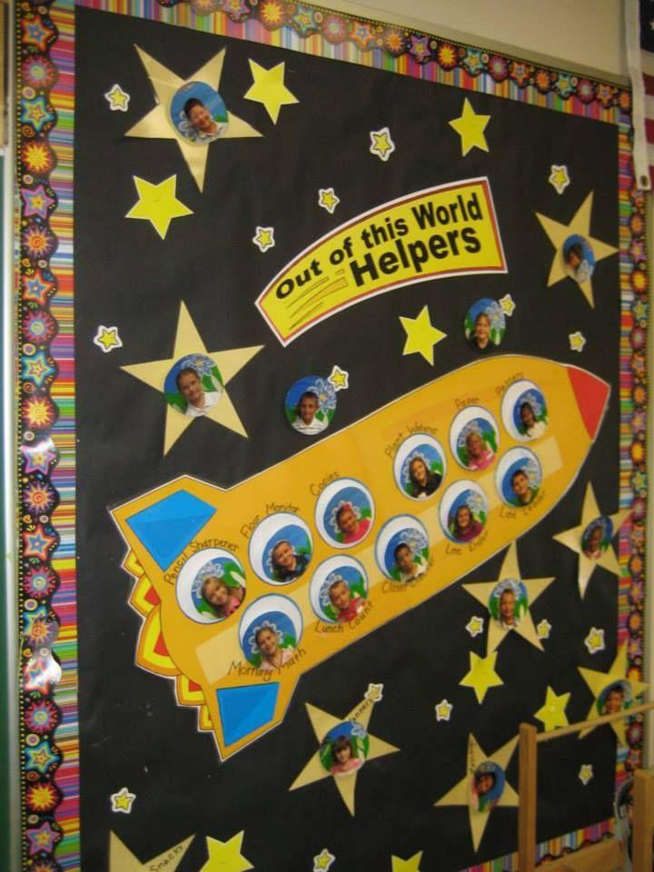 Decoración aula escolar proyecto espacio. Nave espacial con estrellas y fotos de los alumnos.