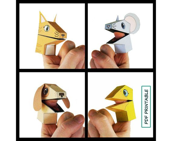 Animal Finger Puppets Set of 4- Paper Toy PDF Printable