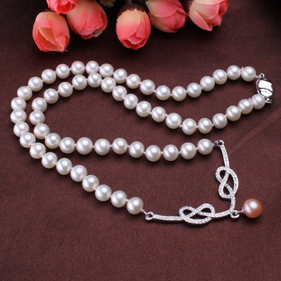 7-7.5mm Zircon Pearl Necklace, 925 sterling silver Pearl Necklace, Pearl Necklace