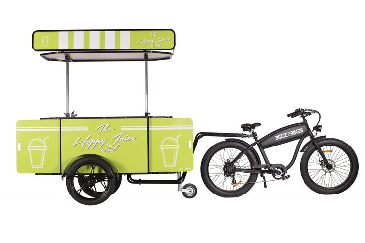 Our Juice Cart towed behind BizzeBike, our hard-working electric bicycle.    #JuiceCart #JuiceBike