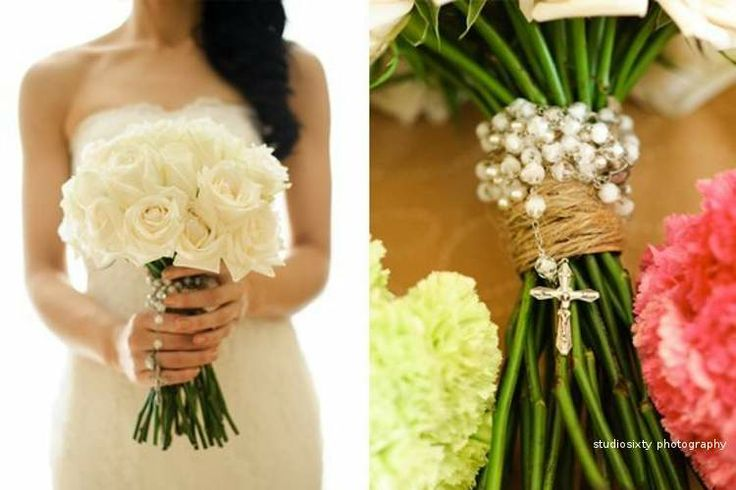 Simple white rose bouquet. Studio Sixty Photography