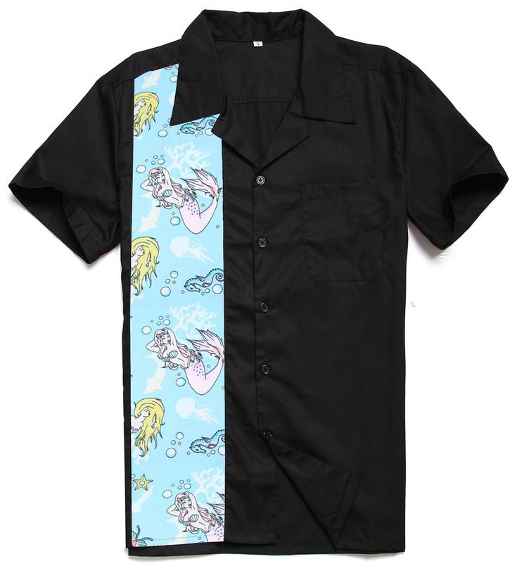 Candow Look New Arrived Fashion Designs Mermaid Print Cotton Men Casual Plus Size Tops Vintage 50s 60s Club Rockabilly Shirts