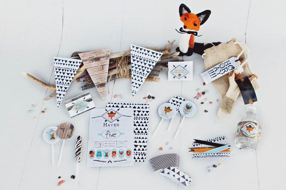 Hipster fox and Friends printable birthday party kit. boy, girl, teen or adult - hipster bear, fox, cat, dog. Teal, orange,black and white