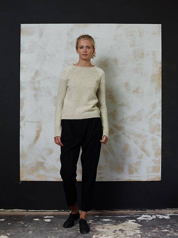 Wool jumper Handmade wool sweater Natural light grey wool
