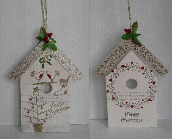 Festive Bird House using Inky Doodles Warm Winter Wishes Stamp Set  www.needleworkgardencrafts.co.uk