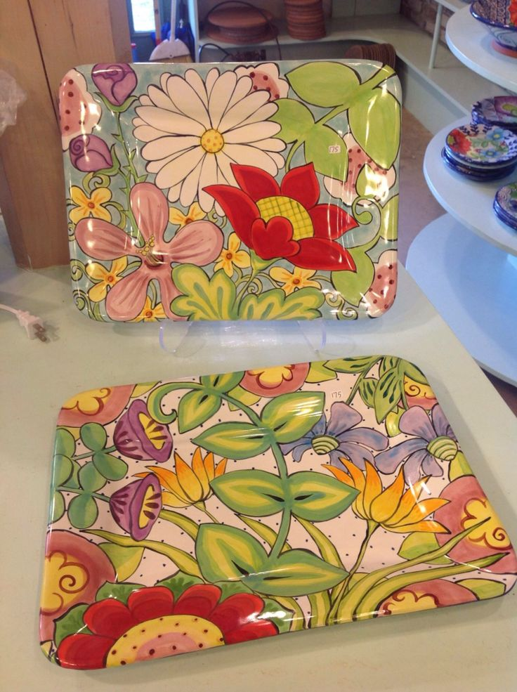 Damariscotta Pottery square platters painted by Mary