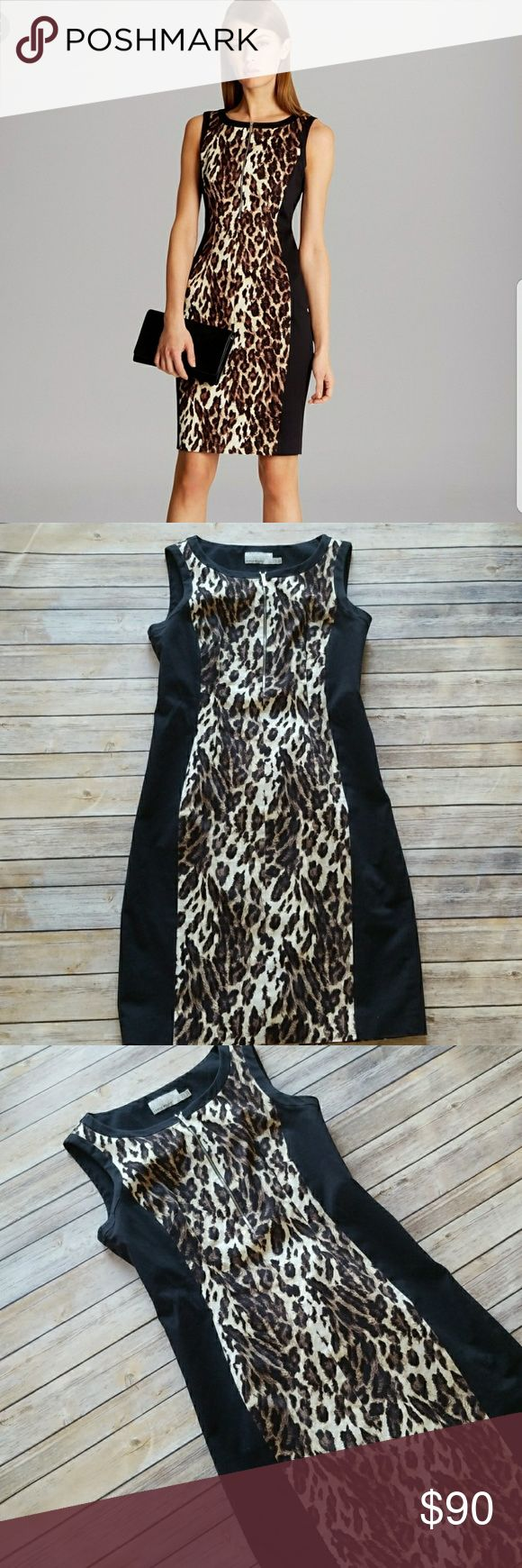 "Karen Millen Leopard Print Shift Dress Karen Millen Leopard Print Shift Dress  *Leopard print with contrast black side panels that provide slimming effect *Rounded neck *Exposed front zip closure *Sleeveless *Excellent pre-owned condition. No rips, holes, stains or pulls *Size 12 *97% Cotton 3% Elastane  Shoulder to bottom: approx. 39 1/2"" Underarm to underarm: approx. 18"" Karen Millen Dresses"