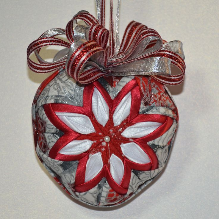 Handmade no sew Quilted ornament - heart shaped