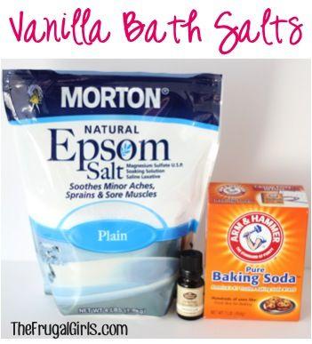 Vanilla Bath Salts Recipe! ~ from TheFrugalGirls.com ~ pamper yourself, or make a sweet little gift in a jar! #bathsalts #thefrugalgirls