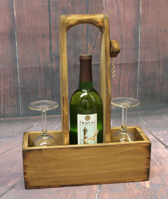 Rustic Wood Wine Caddy Wooden Wine Bottle And Glasses