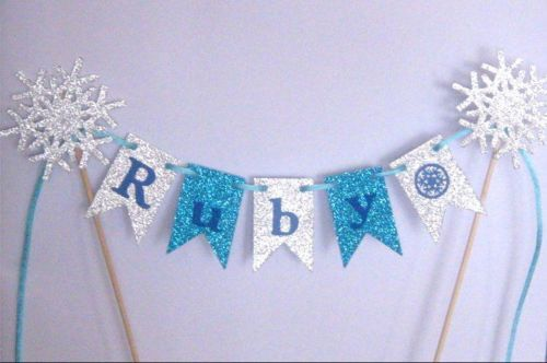 Personalised-Cake-Bunting-Cake-Topper-Flags-Garland-Glitter-for-FROZEN-PARTY