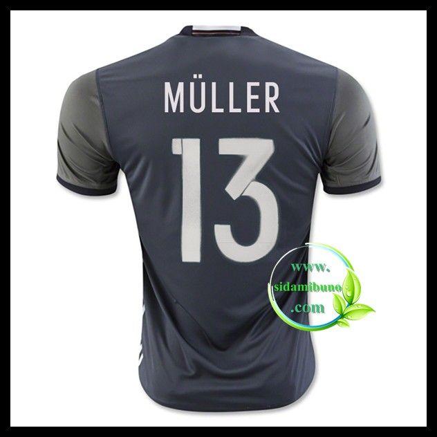 Billige Fotballdrakter Tyskland MULLER 13 Bortedraktsett UEFA Euro 2016