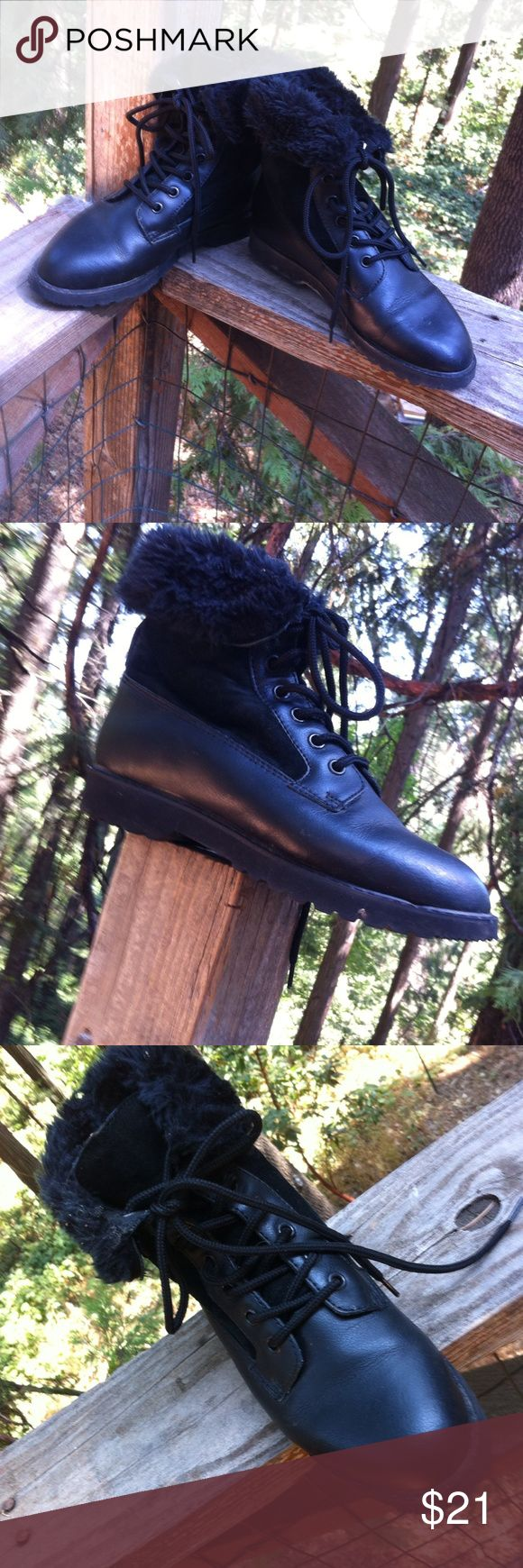 Merona black hiking boots Me roan black leatherette and swede hiking boots with fur at ankles accent and lace up front. A 'Kristens Find'  posh on girlfriend;) Merona Shoes Lace Up Boots