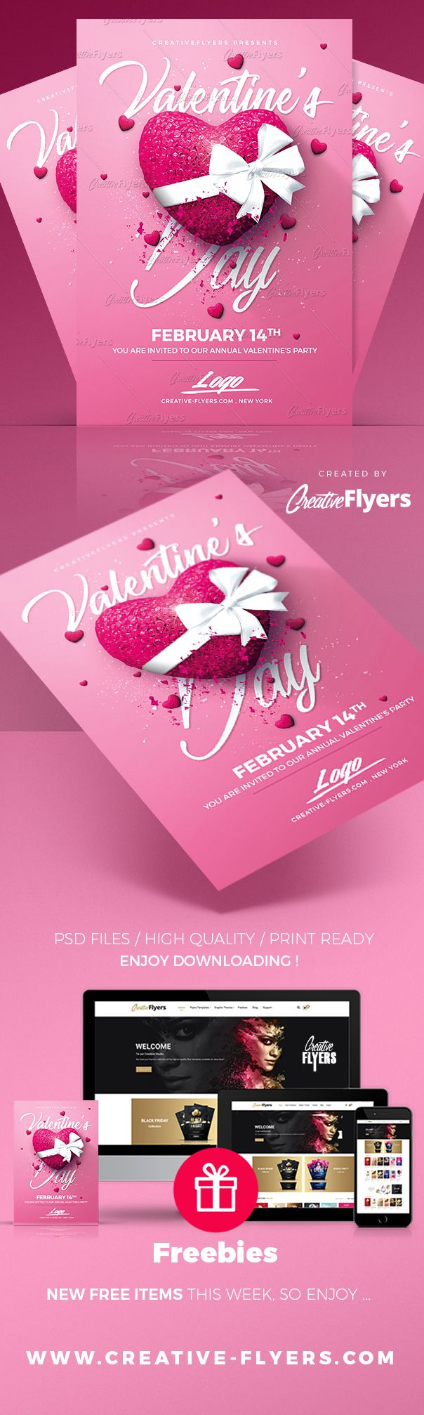 Creative Valentine's Day Flyers Enjoy downloading the Premium Photoshop PSD Flyer / poster Template designed by Creative Flyers perfect to promote your Valentine Party ! #valentinesday #valentine #valentines #flyers #templates #creativeflyers