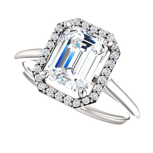 NEO Moissanite Engagement Rings - THE LOLA NEO MOISSANITE EMERALD CUT 1.75CT & DIAMOND HALO ENGAGEMENT RING!    ONLY $1540.00