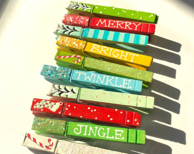 glitter clothespins twinkle jingle merry bright candy cane hand painted magnetic clothespins christmas place card holder