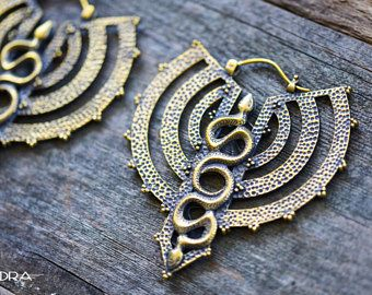 Serpent Moon~Tribal Jewelry~Vedora~Tribal Earrings~Snake Earrings~Gauges~Dangle Plugs~Tribal Plugs~Tunnels~Ear Weights~Serpent Jewelry