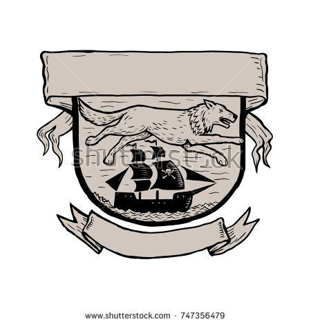 Scratchboard style illustration of a wolf running or flying over a pirate sailing ship set inside crest or shield with banner done on scraperboard on isolated background.  #pirateship #scratchboard #illustration