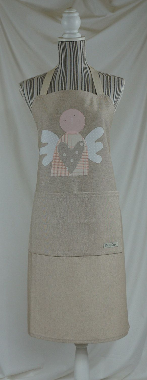 Apron handmade, gift for her, Guardian angel appliqué di Filoagoefantasia su Etsy