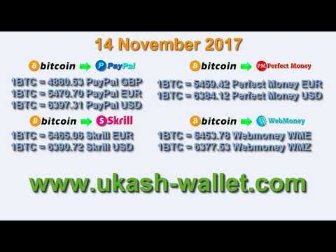 14 November 2017 Bitcoin exchange rates to PayPal, Skrill, Perfect Money...