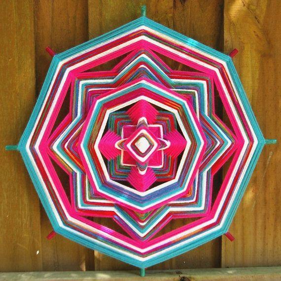 18 Mandala Woven Yarn Art  Ojo de Dios Wall by MandalaMoonShop