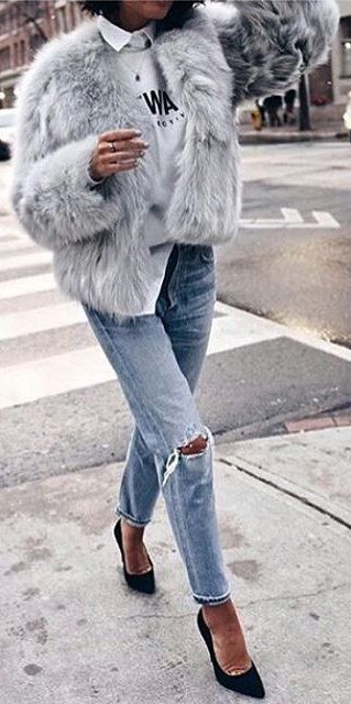 #winter #fashion /  Grey Faux Fur Jacket / Destroyed Jeans / Black Pu,ps