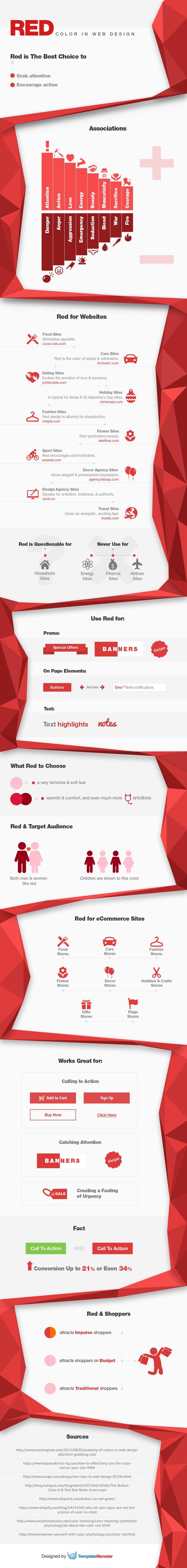 Take a Look at Red Color in Web Design Infographics http://blog.templatemonster.com/2015/11/05/red-color-web-design-infographics/?utm_source=pinterest&utm_medium=timeline&utm_campaign=redinf
