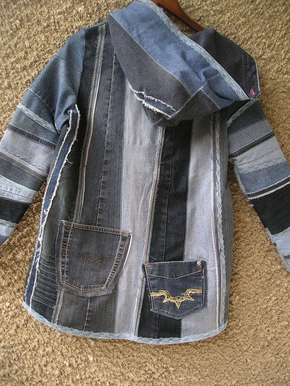 Kapuzenjacke, Upcycled Kleidung von EcoClo, Denim-Kollektion, Größe S