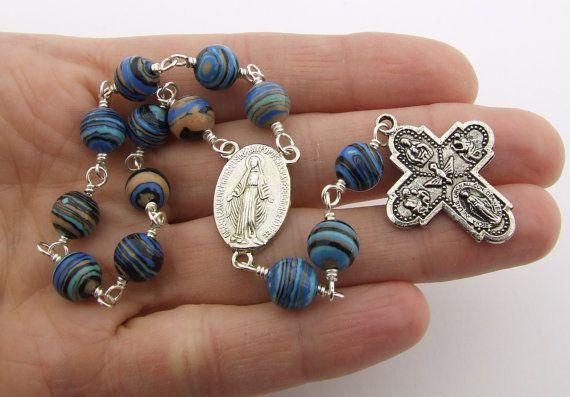 Perles de chapelet catholique avec miraculeuse médaille pièce
