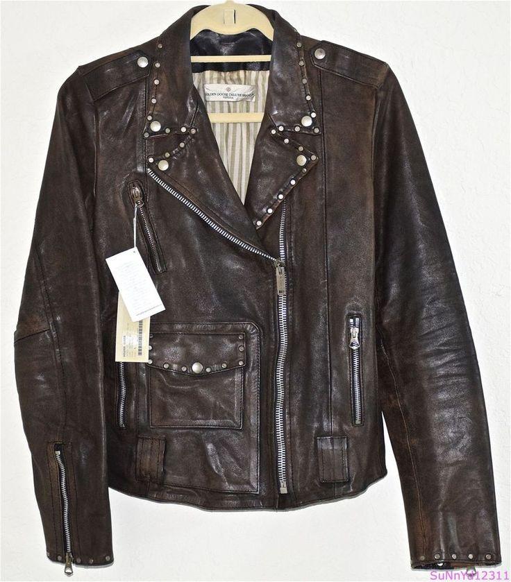 golden goose jacket motorcycle brown leather biker stud rugged perfecto l 1031. Black Bedroom Furniture Sets. Home Design Ideas