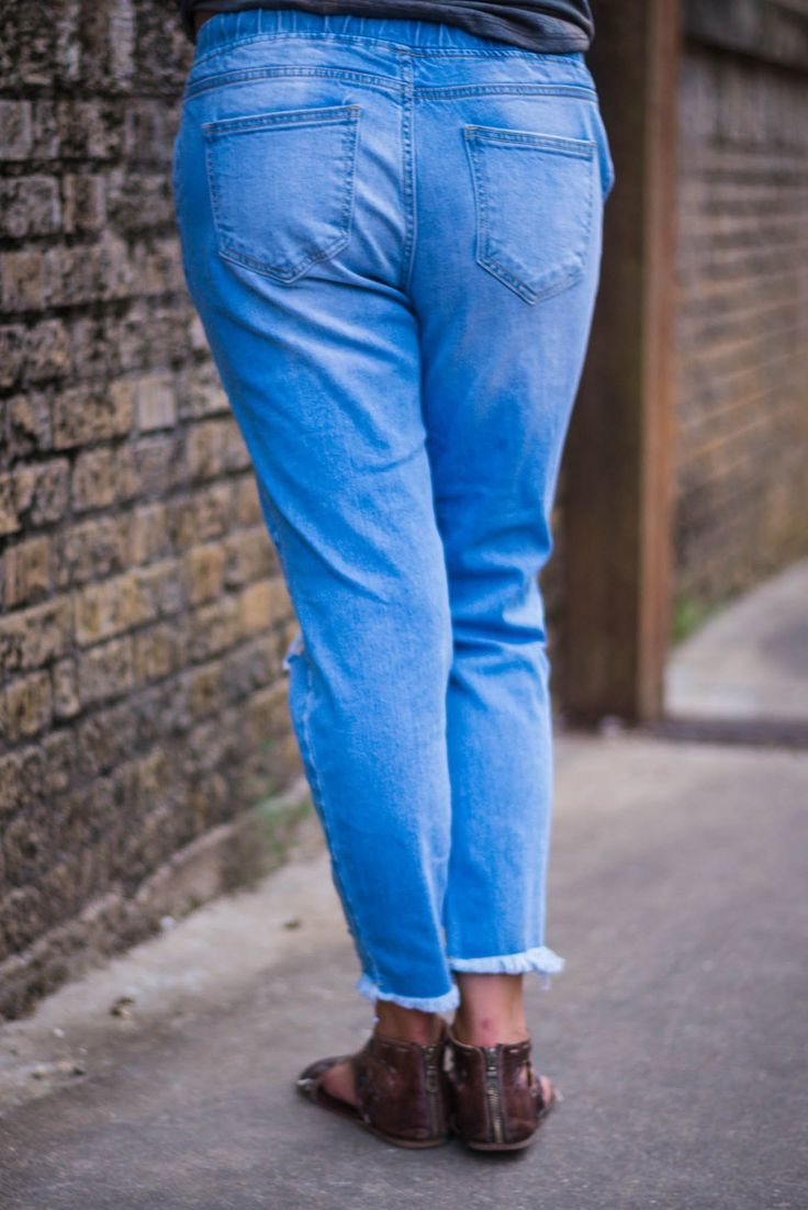 Selah Distressed Boyfriend Jogger Jeans in 2019 | LC | New Releases
