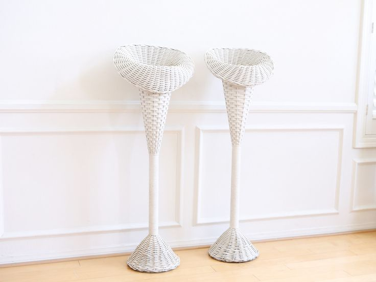 Vintage White Wicker Basket Tall Planter Stand / Flower Stand - A Pair No 590