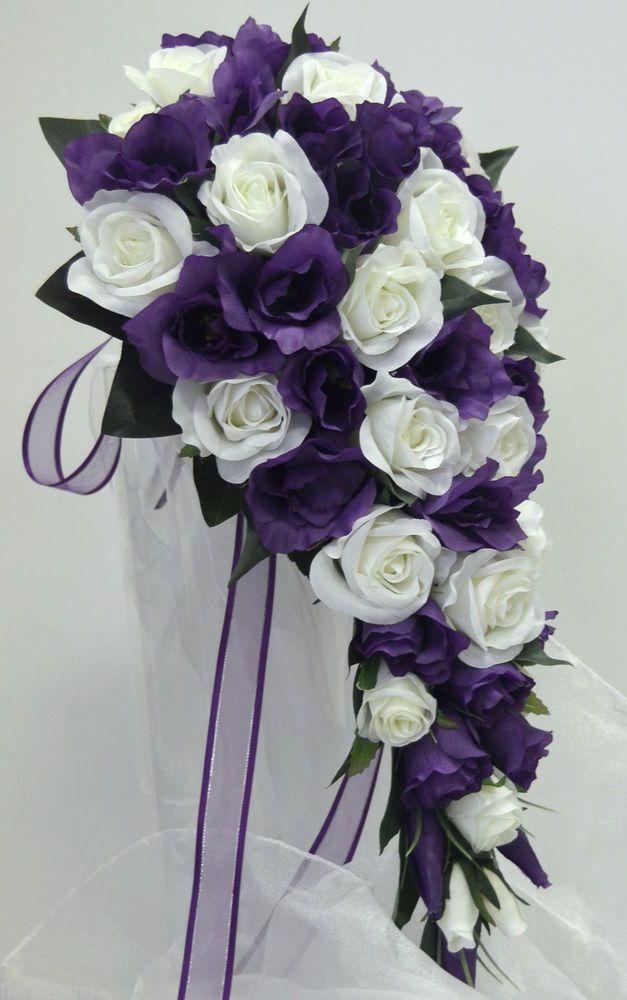 PURPLE LISIANTHUS WHITE ROSES ROSE WEDDING BOUQUET FLOWERS SILK FLOWER TEARDROP