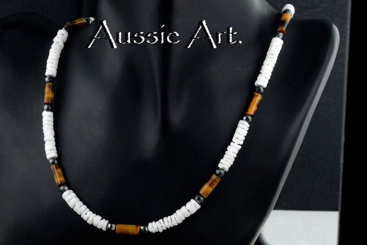 2SN-074 Bravo Collection Shell, Hematite & Tigers Eye Choker New Surf Necklace.