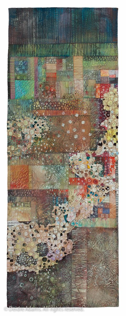 <b>Tracings No. VII</b><br/>60 x 22 inches; mixed media textile<br>private collection