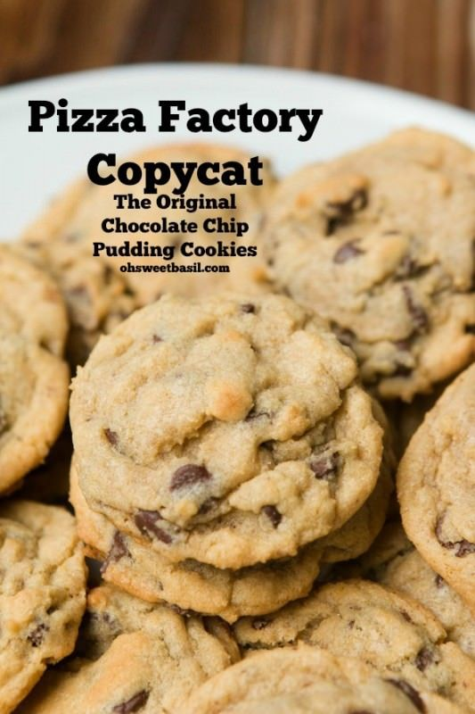 Made these for Mother's Day 2016---very good! KEEP! Use 1/3 cup pudding mix with 1/2 recipe & add more choco chips! Chocolate Chip Pudding Cookies- Pizza Factory Copycat recipe ohsweetbasil.com