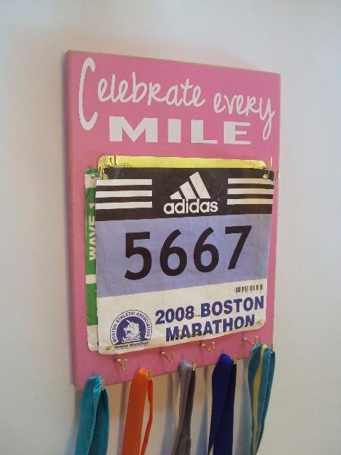 Love this race bib display!!
