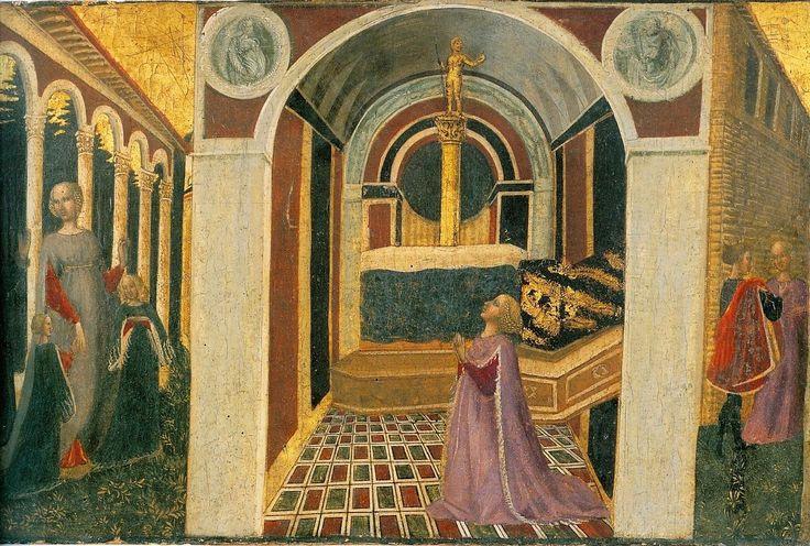 Приамо делла Кверча. Не идентифицированная сцена из неизвестной новеллы Кассоне. Нач. 1440х гг, Музей искусства, Филадельфия.